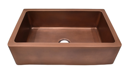 36 Inch Copper Farmhouse Sink in copper Antique Finish
